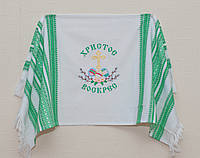 Вышитый рушник на Пасху с зеленым узором | Вишитий рушник на Пасху із зеленим візерунком