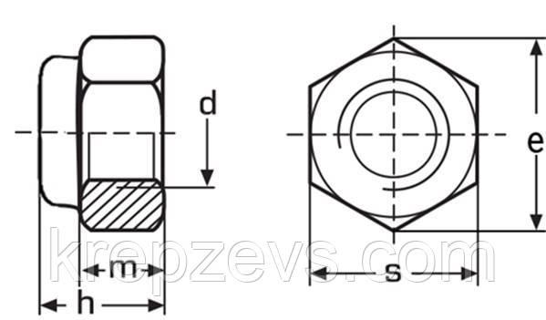 чертеж Гайка самоконтрящаяся М30 DIN 985, ISO 10511