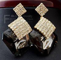 Бремен II позолоченные серьги с австрийскими кристаллами золото 750 проба