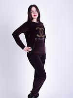 Женский мягкий костюм велюровый шоколад