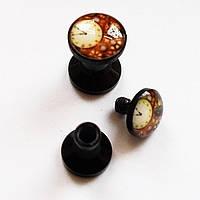 """Плаги """"Часы"""" для пирсинга ушей. Диаметр 4, 5 мм. Материал: акрил."""