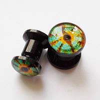 """Качественные плаги""""Глаз змеи"""", диаметр 6, 8 мм. Материал:акрил."""