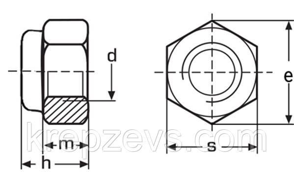 чертеж Гайка М36 DIN 985, ISO 10511 самоконтрящаяся с нейлоновым кольцом
