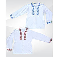 Белая рубашка вышиванка для мальчика на пуговицах, интерлок, р.р.28-36