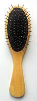 Массажная щётка деревянная, металлические зубья, (220 мм)