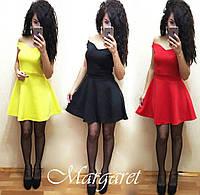 Платье стильное модное яркое с открытыми плечами в разных цветах SMN84
