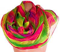 Замечательный полосатый женский шарф из шифона 184 на 144 см. ETERNO (ЭТЕРНО) P-P-68