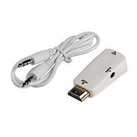 Конвертер HDMI - VGA #4 передача звука без доп.питания, 3,5 мм мини джек для вывода аудио преобразователь анал