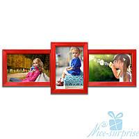 Мультирамка Домино на 3 фотографии 10х15, обычное стекло (красный)