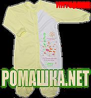Человечек для новорожденного р. 74 демисезонный ткань ИНТЕРЛОК 100% хлопок ТМ Алекс 3039 Желтый