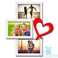Фоторамка для влюблённых Венера на 3 фотографии 10х15, обычное стекло (белый)