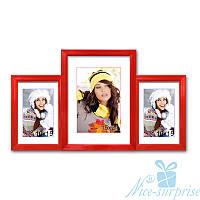 Фоторамка Марбелья на 3 фотографии 10х15+15х21, антибликовое стекло (красный)