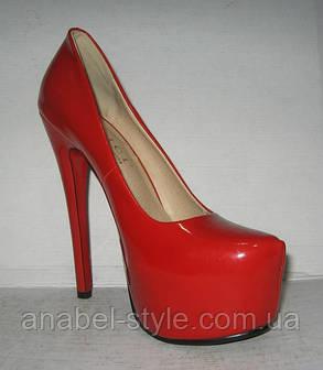 Туфли женские модные на высоком каблуке Лабуте$ лаковые красные Код 164, фото 2