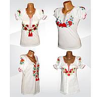 Вышиванка женская белая с коротким рукавом, интерлок. р.р.40-58