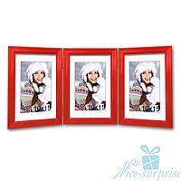 Фоторамка Фьюджи на 3 фотографии 10х15, антибликовое стекло (красный)