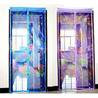 Москитная сетка(штора)на магнитах110*210см №1105 фиолетовая с рис