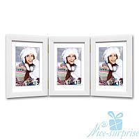 Фоторамка Фьюджі на 3 фотографії 10х15, звичайне скло (білий)