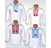 Белая вышиванка для мальчика с длинным рукавом, стрейч-хлопок. р.р.28-42