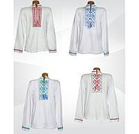 Белая мужская вышиванка с длинным рукавом, фуликра, р.р.42-60