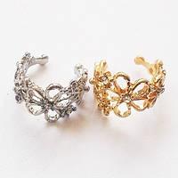 Серьга клипса с кристаллами для имитации пирсинга ушей (золотистая, серебристая).