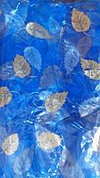 Москитная сетка на двери на магнитах Листья синий 120 210 см