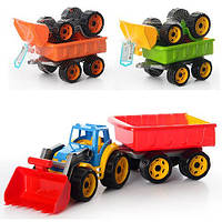 Трактор с ковшом и прицепом.