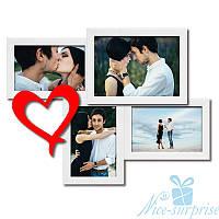 Фоторамка для влюблённых Венера на 4 фотографии, обычное стекло (белый)