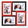 Фоторамка Сицилия на 4 фотографии 10х15, антибликовое стекло (красно-чёрный)