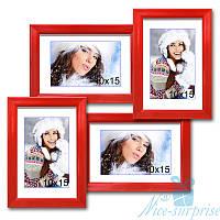 Фоторамка Лесенка Мини на 4 фотографии 10х15, антибликовое стекло (красный)