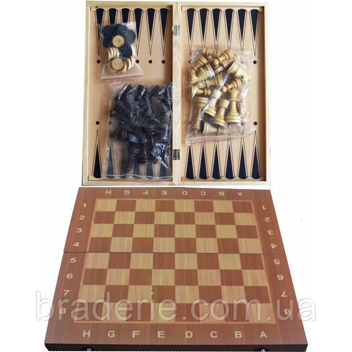Игра настольная 3 в 1 Нарды, Шахматы, Шашки W7721