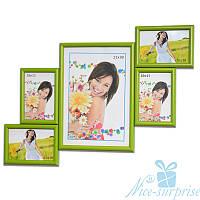 Рамка для фотографий Лесенка Мини на 5 фотографий, антибликовое стекло (зеленый)