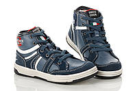 Детские кроссовки синие с замшевыми вставками на шнурке+молния сбоку