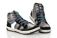 Кроссовки серые с замшевыми черными вставками на шнурке+молния сбоку  31 рзм. (М)