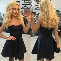 Красивое черное платье с корсетом y-31031447