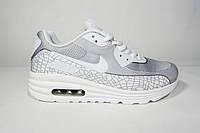 Женские кроссовки Nike Air Max, текстиль, серый с белым, Р. 40