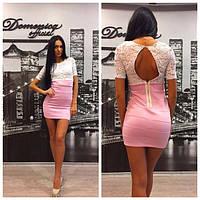 Облегающее платье с гипюровым верхом и вырезом на спине y-31031451