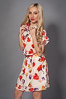 Летнее женское платье из принтованного шифона