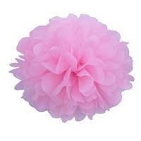 Помпоны бумажные 35 см светло-розового цвета. Украшение для свадебного зала