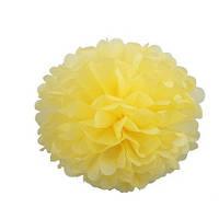 Помпон 25 см нежно-желтого цвета. Украшение для свадебного зала