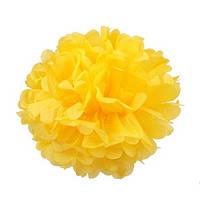 Помпон 25 см яркого желтого цвета. Украшение для свадебного зала