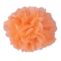 Помпон 35 см нежно-оранжевого цвета. Украшение для свадебного зала