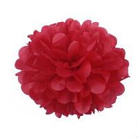Помпон 25 см красного цвета. Украшение для свадебного зала