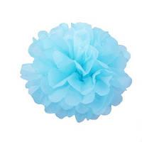 Помпоны из бумаги подвесные 35 см голубого цвета. Украшение для свадебного зала