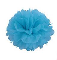 Помпон 35 см синего цвета. Украшение для свадебного зала
