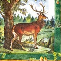 """Салфетки для декупажа """"В лесу"""" зеленый 33*33 см №191"""