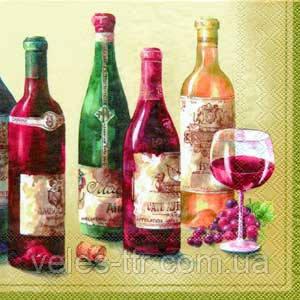 """Салфетки для декупажа """"Вино.Grand Cru"""" кремовый 33*33 см №232"""