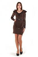 Платье коричневое с гипюровыми рукавами