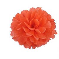 Помпоны бумажные тишью 35 см оранжевого цвета. Украшение для свадебного зала