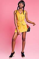 Модная Замшевая Туника-Платье с Поясом Горчичная S-XL