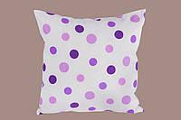 Подушка декоративная с принтом фиолетовый горошек